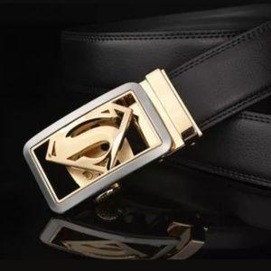 Men's Designer Belt Automatic Superman Buckle New